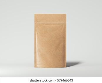 Blank packaging recycled kraft paper bag on white floor. 3d rendering