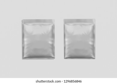 Blank packaging Sachet isolated on white background with clipping path.Clear Sachet For Food, Medical Or Cosmetics. 3D rendering.