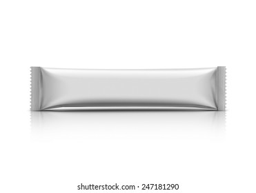 blank packaging stick sachet isolated on white background