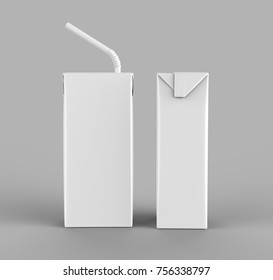 Blank  Packet Carton Juice & milk pack with straw White Realistic Rendering for mock up template design. 3D render Illustration.