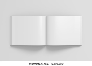 Blank pages of open landscape soft cover book with glossy paper. Isolated on white background with clipping path around book. 3d illustration.