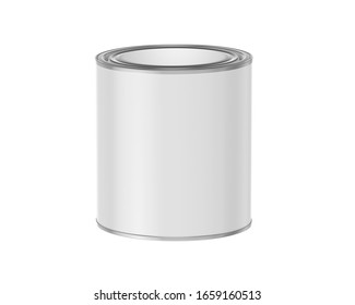 Blank paint cans realistic. Metal tin can containers isolated on white background, 3d rendering