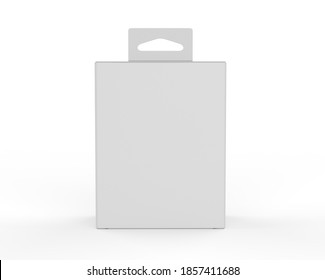 Blank paper box packaging with hand tab for mockup design and branding, 3d render illustration.