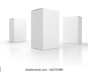blank paper boxes composition. Template. Render