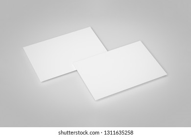 Blank Paper Brochure Mock up on soft gray background with soft shadows and highlights.Open fold Leaflet. 3D rendering