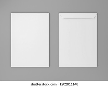 Blank paper c4 envelope. 3d illustration on gray background