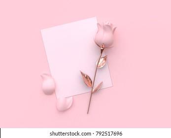 blank paper card flower-rose valentine concept 3d rendering