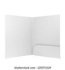 Blank paper folder. 3d illustration isolated on white background
