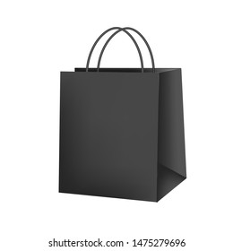 Blank paper luxury gift package in black with handle mockup 3d realistic illustration isolated on white background. Empty shopping bag for advertising and branding. Rasterized