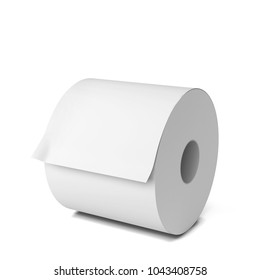 Blank paper roll. 3d illustration isolated on white background