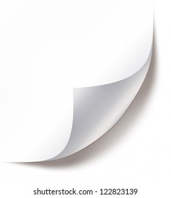 Blank paper sheet with page curl and shadow on white