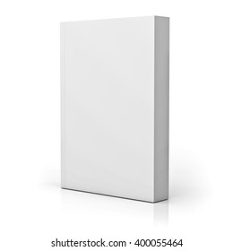 Blank paperback book cover isolated over white background with reflection. 3D rendering.