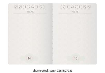 Blank passport pages. Mock up. 3d illustration. Raster version