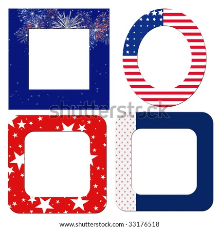 Blank Patriotic Frames Red White Blue Stock Illustration 33176518