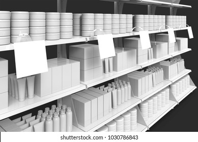 Blank perfumery products on supermarket shelves with wobblers in perspective. 3d illustration. 3d rendering.