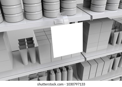 Blank perfumery products on supermarket shelves with blank square wobbler. 3d illustration. 3d rendering