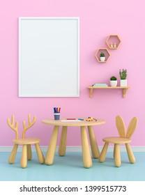 Blank photo frame for mockup in children room, 3D rendering
