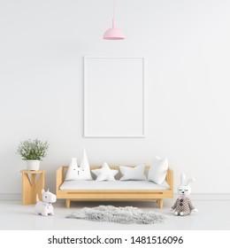 Blank photo frame for mockup in white child room, 3D rendering