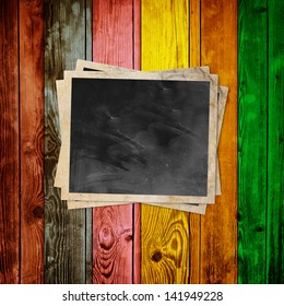 Blank Photo on Multicolored Wood Background