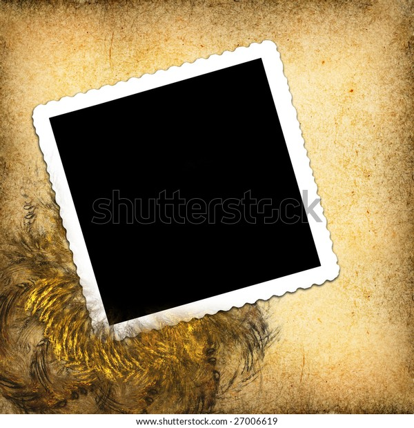 Blank photo on textured background with decorative framing.