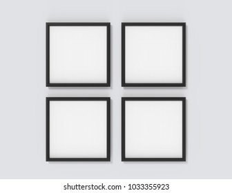 Blank picture frame mockup, 3d render black frames set on wall with empty space for design uses, four square frames