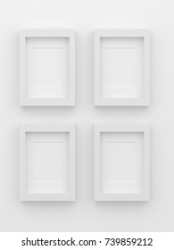 Blank picture frame templates hanging on the living room wall, 3D rendering