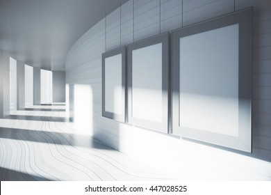 Blank picture frames in corridor interior with sunlight. Mock up, 3D Rendering