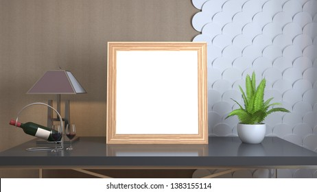 Blank picture on the table. 3d illustration