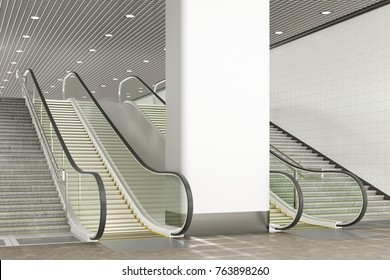 Blank pillar or wall for advertising poster mockup. Indoor or underground. 3d illustration
