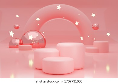 Blank pink cylinder podium 3 step on pink background, showcase for product. 3D render