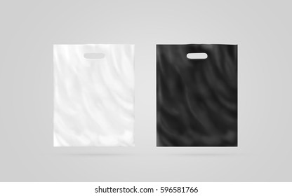 Blank plastic bag mock up set isolated, black and white, 3d illustration. Empty polyethylene package mockup. Consumer pack for logo design or identity presentation. Commercial product food packet
