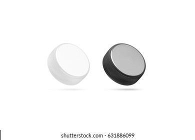 Blank plastic bottle caps mock up set isolated, black and white, 3d rendering. Empty mineral water lids mockups side view. Fizzy pop circle clear cover design template. Soda drink element