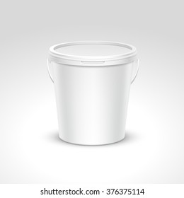 Blank Plastic Bucket Container Packaging Isolated on White Background