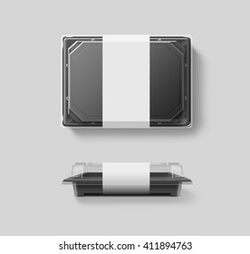 Blank plastic disposable food container mockup, transparent lid, isolated, clipping path, 3d illustration. Sushi empty to go bento delivery box mock up. Meal lunch take away out clear tray template.