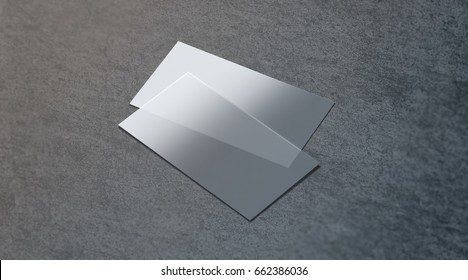 Blank plastic transparent business card mock up, 3d rendering. Clear pvc namecard mockup on textured surface. Empty acrylic horizontal customer pasteboard template for your logo presentation.