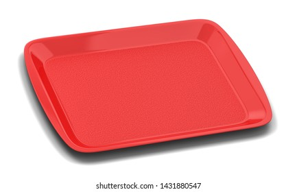 Blank plastic tray for food. 3d illustration isolated on white background