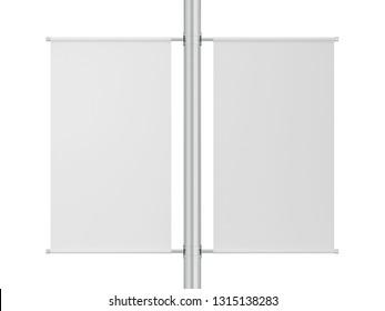 Blank pole banner mockup. 3d illustration isolated on white background