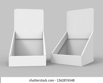 Blank portrait counter top product display for mock up and branding. 3d render illustration.