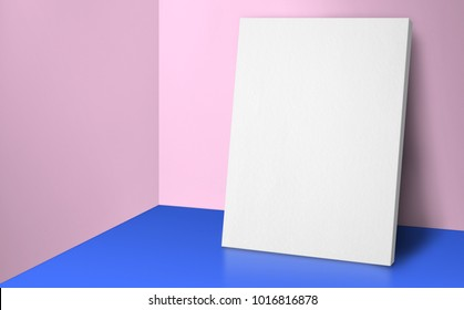 Blank poster at corner pastel pink and blue studio room with wall and floor background,Mock up studio room for display or montage of product for advertising on media,Business presentation.3d rendering