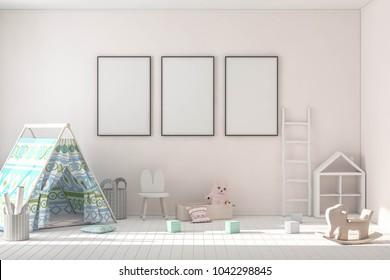 Blank poster fame mockup in kids game room interior. Interior scandinavian style. 3d rendering