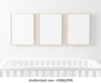 Blank Poster Frame 3 Panel  3d Illustration