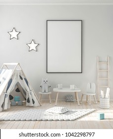 Blank poster frame mockup in stylish kids room 3d rendering
