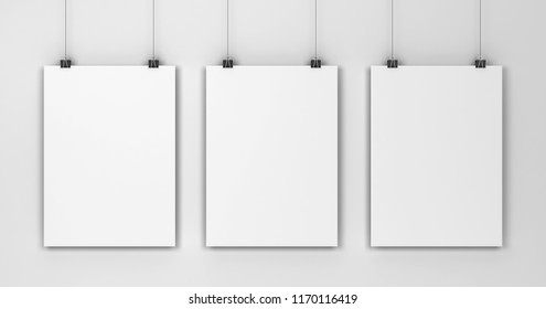 Blank poster hanging on a wall mockup. 3d illustration on gray background