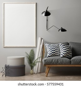 Blank poster on grey wall, hipster sofa, 3d illustration
