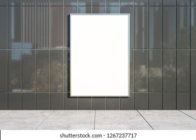 Blank poster on shiny tile background with city reflections. Mock up, 3D Rendering