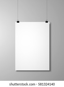 Blank poster on a wall. 3d rendering