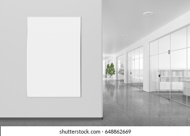 Blank poster on the wall in bright office interior with clipping path around banner. 3d illustration