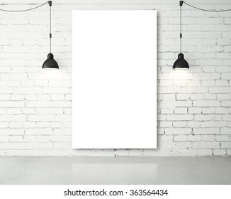 blank poster in room with two ceiling lamp