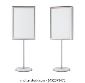 Blank poster sign with pole stand Blank mock up information signage board or advertising billboard light box set isolated on white background with shadow 3D rendering