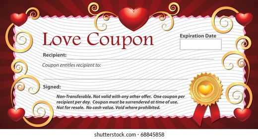photo regarding On the Border Printable Coupons titled Appreciate Coupon Photos, Inventory Pics Vectors Shutterstock